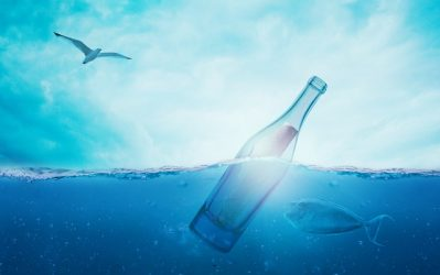 partly submerged message in bottle