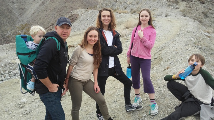 5/6 of Rosnau family plus Iris hiking in California desert