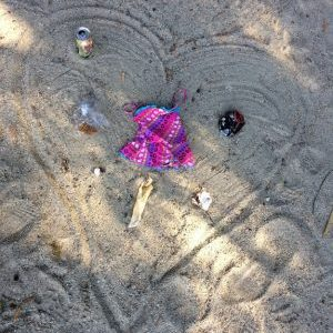 heart art from garbage on beach